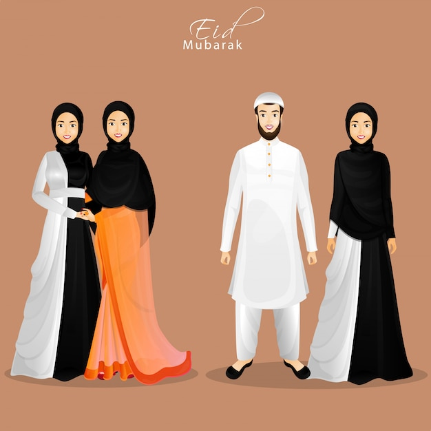 Character of islamic people in their traditional clothes for eid Premium Vector