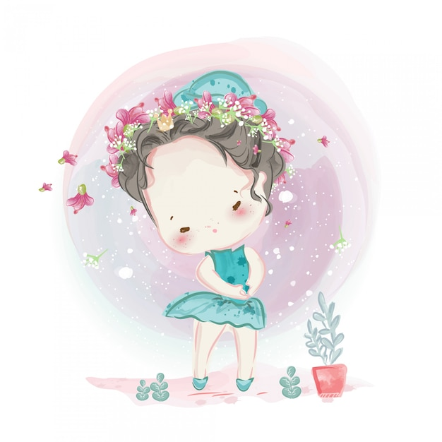 Character in lovely girl and boy watercolor  style. Premium Vector