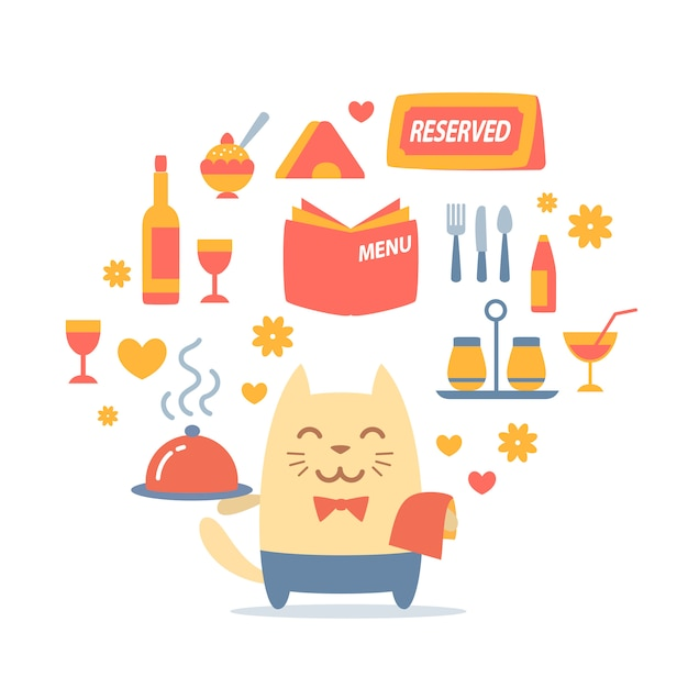 Character male cat waiter in uniform holding a tray Premium Vector