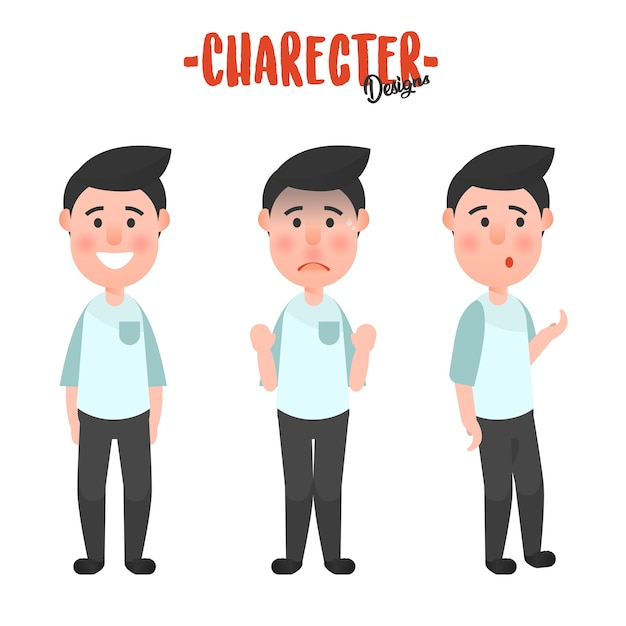 Character man action Premium Vector