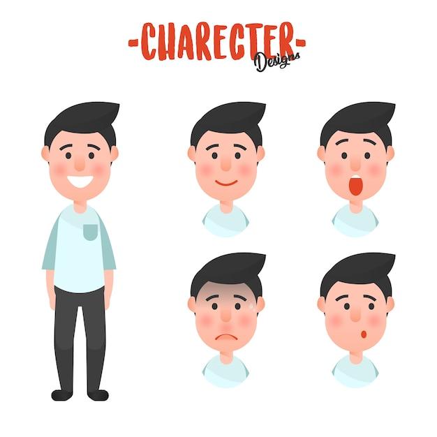 Character man face Premium Vector