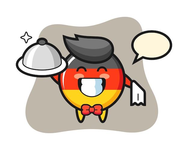 Персонаж талисман значка флага германии в качестве официантов Premium векторы