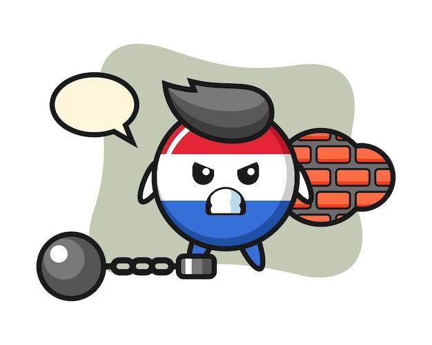 囚人としてのオランダの旗バッジのキャラクターマスコット Premiumベクター