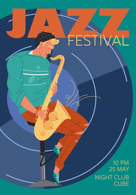 Характер музыкальной группы, джаз, рок, блюз стильный баннер плакат веб-концепция онлайн. Premium векторы