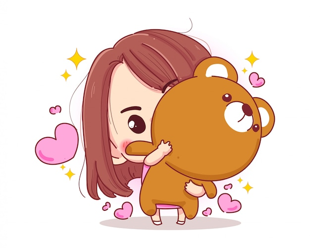 Характер куклы плюшевого медведя объятия милой девушки с счастливой концепцией подарка валентинок изолированной на белой предпосылке. Premium векторы