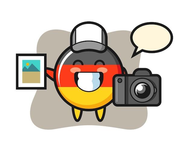 写真家としてのドイツ国旗バッジのキャラクター Premiumベクター