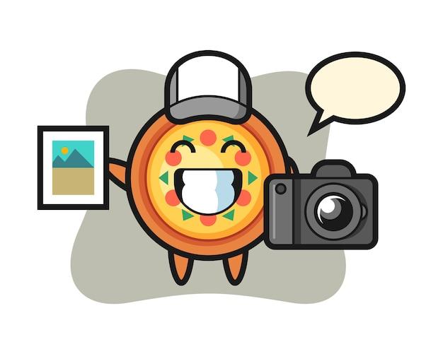 写真家としてのピザのキャラクター Premiumベクター