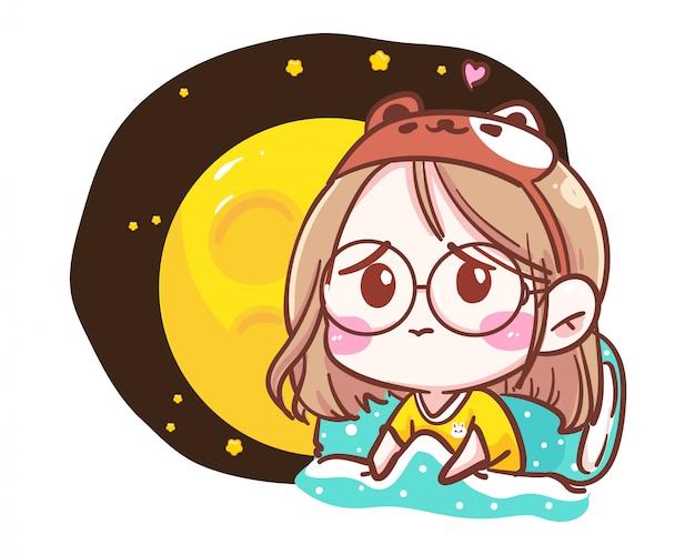 Персонаж грустной девушки в одиночестве в спальне на белом фоне с спокойной ночи и депрессивным временем. Premium векторы