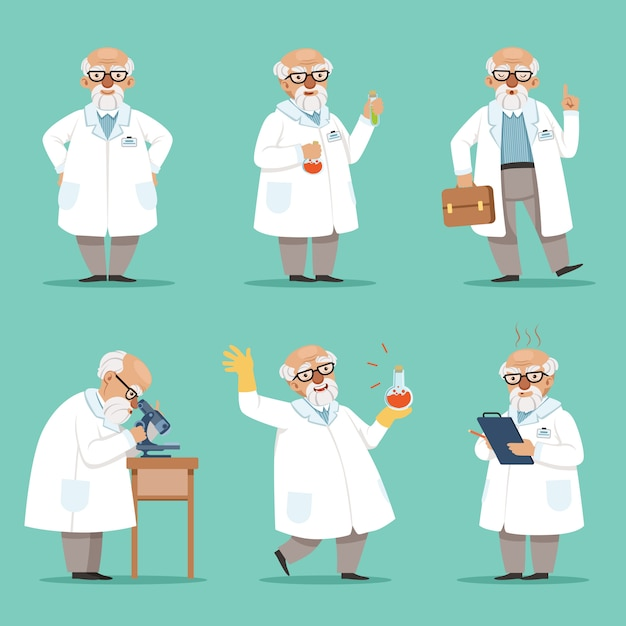 Character of old scientist or chemist. Premium Vector