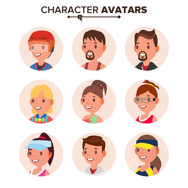 Character people avatar set. Premium Vector