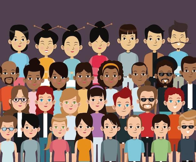 Character people multiethnic community portrait Premium Vector