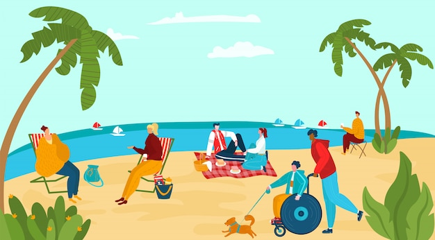 Character people relax sea shore, male female disabled walking dog, group human rest ocean beach   illustration. Premium Vector