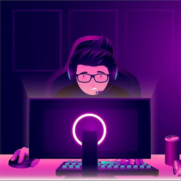 Персонаж, играющий в онлайн-игры посреди ночи Premium векторы