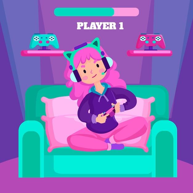 ビデオゲームをプレイしてソファーに座っているキャラクター 無料ベクター