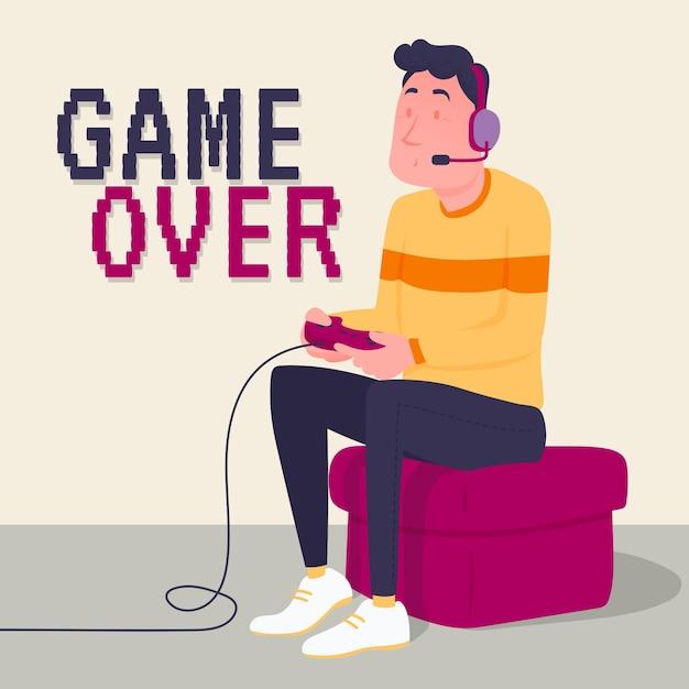 キャラクターのビデオゲームのゲームオーバー 無料ベクター