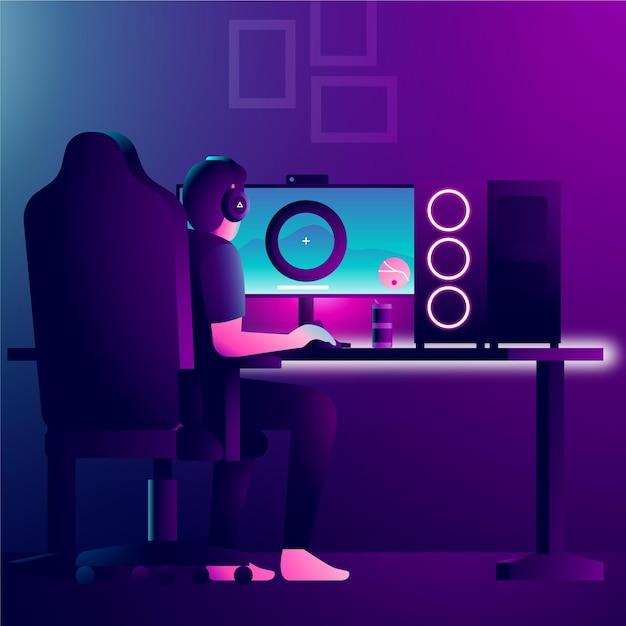 Персонаж играет в видеоигры на современном компьютере Бесплатные векторы