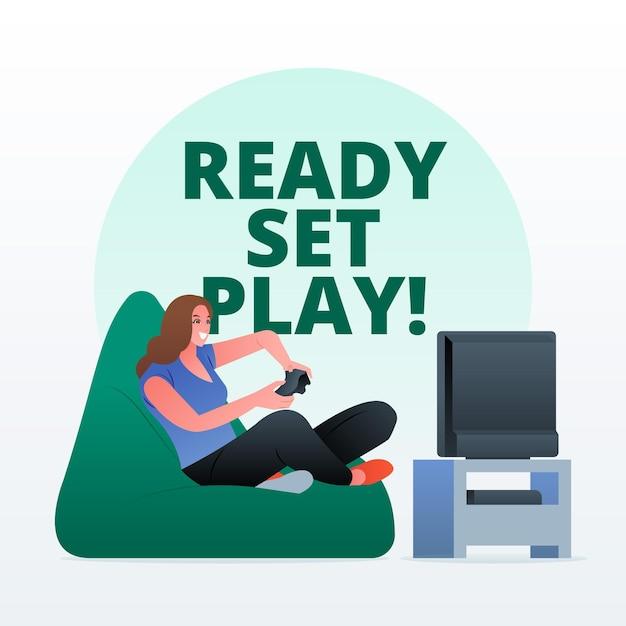 キャラクター再生ビデオゲームのコンセプト 無料ベクター