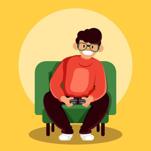 Персонаж, играющий в видеоигру Бесплатные векторы