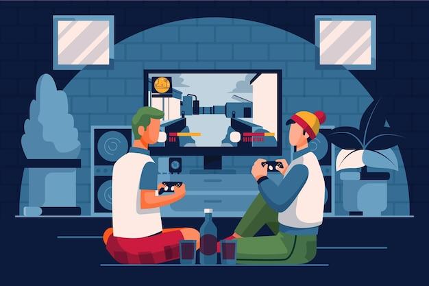 キャラクターがビデオゲームをプレイ 無料ベクター