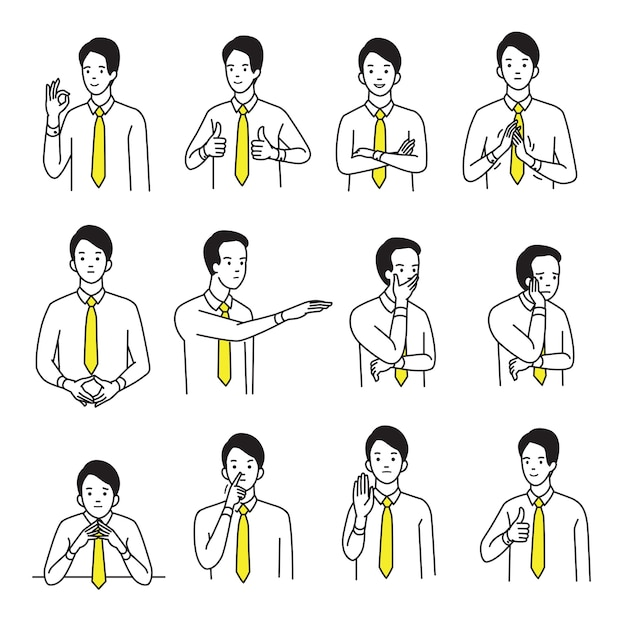 Character portrait set of businessman with various hand sign body language and emotion expression. Premium Vector