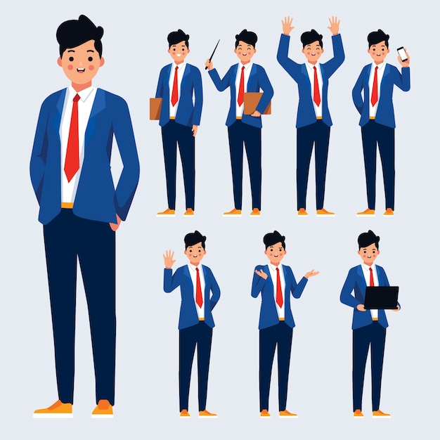 Character poses illustration design Free Vector