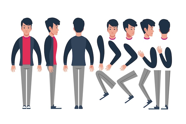 Character poses illustration Free Vector