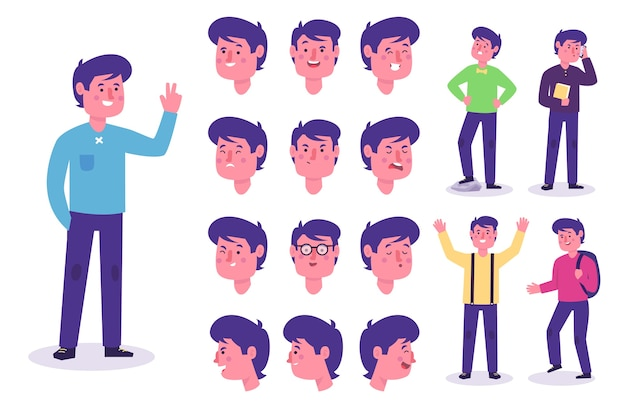 Character poses with different outfits Free Vector