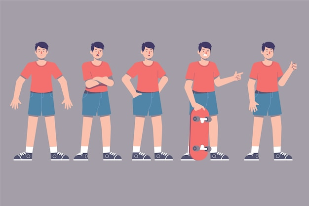 Character poses with skateboarder Free Vector
