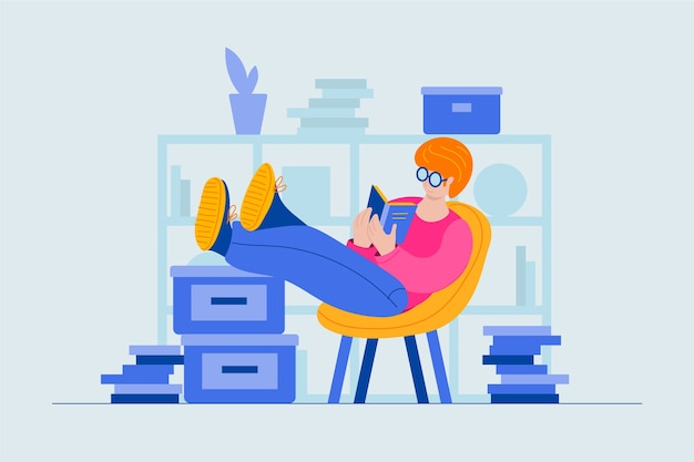 Character reading a book instead of working Free Vector