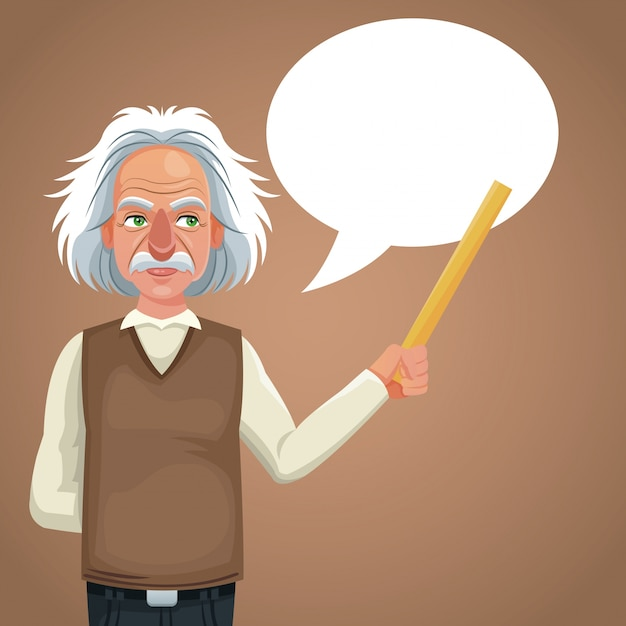 Character scientist physical holding ruler bubble speech Premium Vector