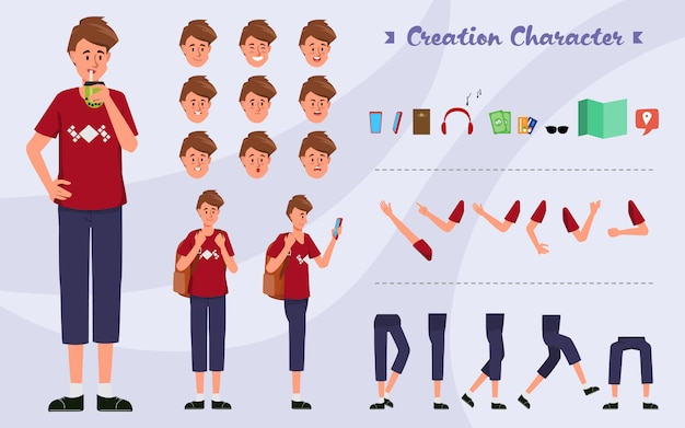 Character set for animation young man backpack for animated with emotions face. Premium Vector