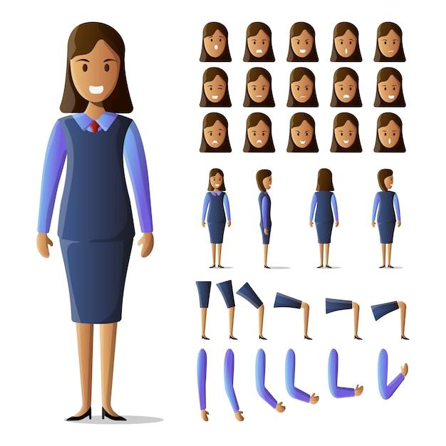 Character set businesswoman kit Premium Vector