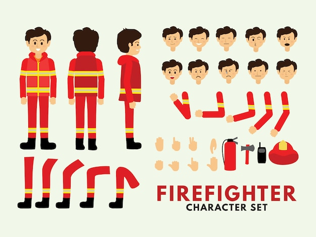 Character set firefighter Vector | Premium Download