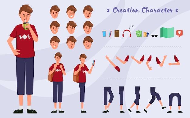 感情の顔をアニメーション化するためのアニメーション青年バックパックのキャラクターセット。 Premiumベクター