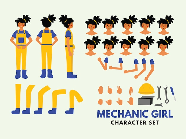 Character set mechanic girl Premium Vector