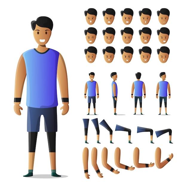 Character set sportman kit Premium Vector