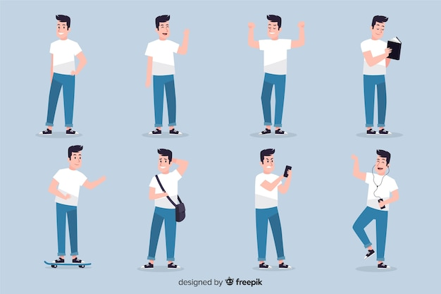 Character showing emotions collection Free Vector