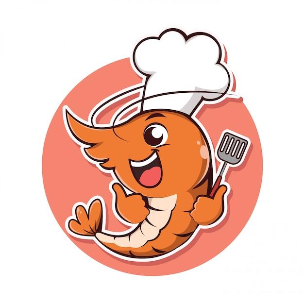 Персонаж креветки возьмите с собой шляпу шеф-повара и держатель токаря, Premium векторы