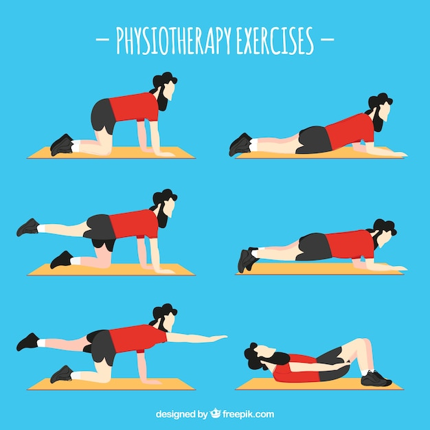 Character in six different rehabilitation exercises Free Vector