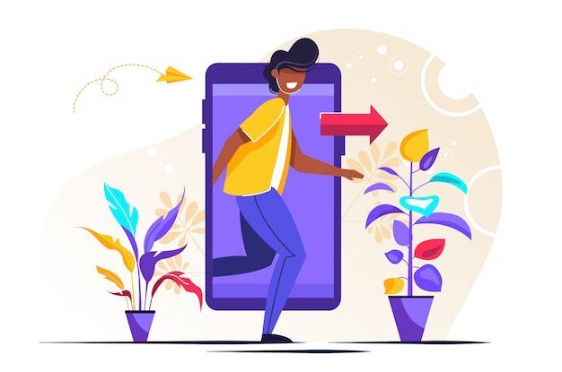 Character stepping out of the mobile phone screen Premium Vector
