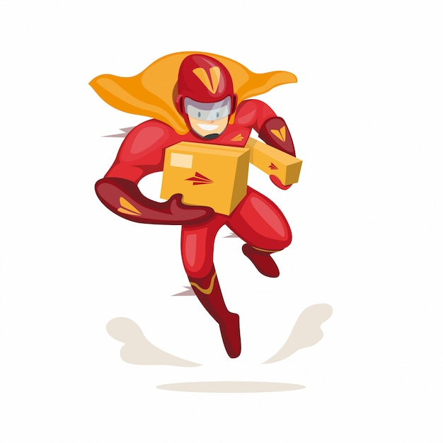 Character of superhero mascot carrying package for courier express delivery company in cartoon flat illustration vector isolated Premium Vector