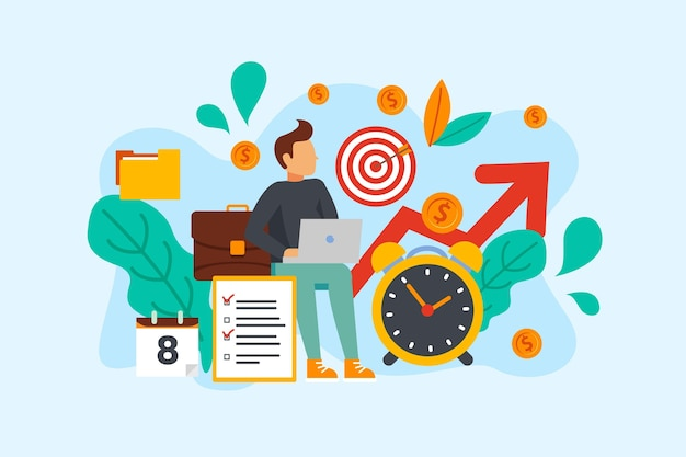 Character and time management concept Free Vector