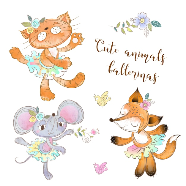 Character toy set. the mouse the cat and the fox in a tutu. animal ballerinas Premium Vector