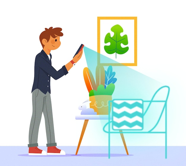 Character using augmented reality Free Vector