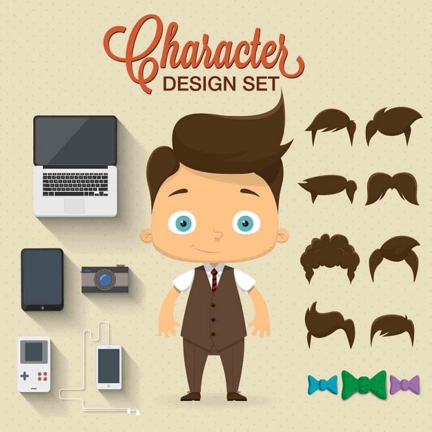 Cute Boy Character Design : Character with complements vector free download