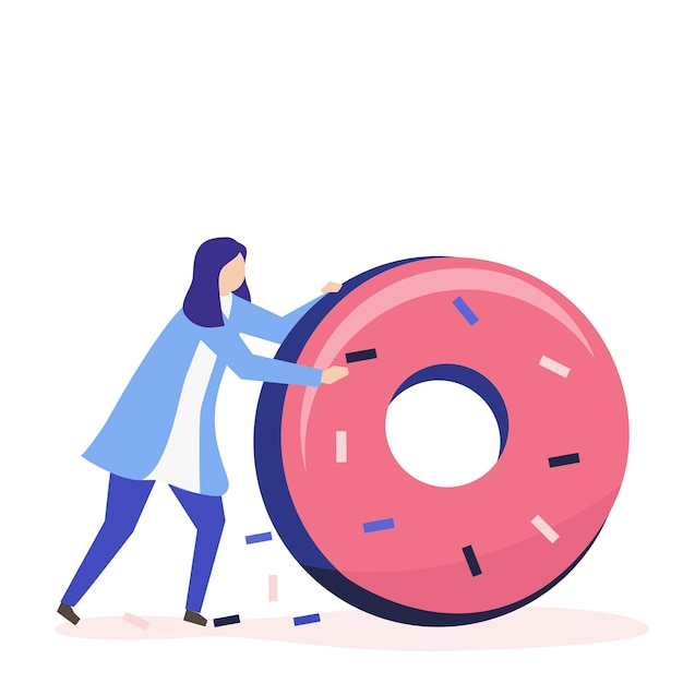 Character of a woman rolling a giant donut illustration Free Vector
