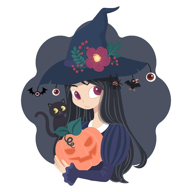 カボチャと黒猫のキャラクター女性魔女コスチューム Premiumベクター