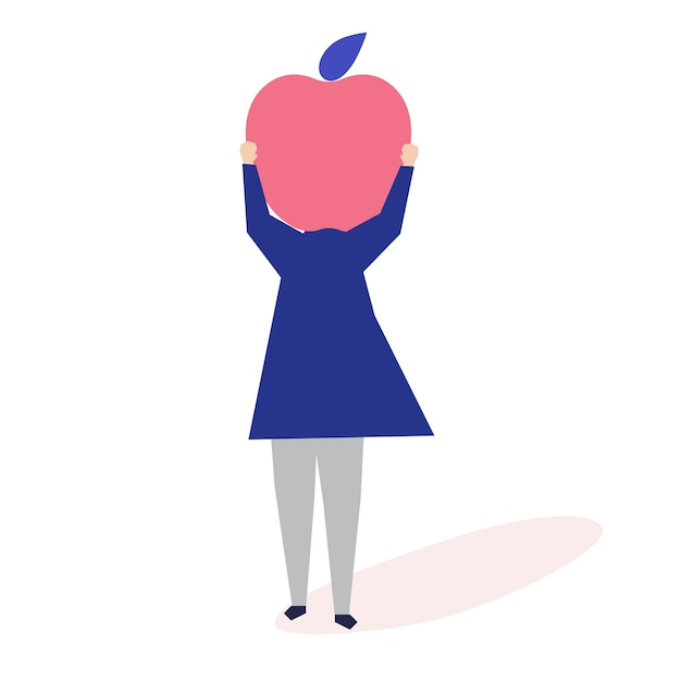 Character of a woman with an apple head illustration Free Vector