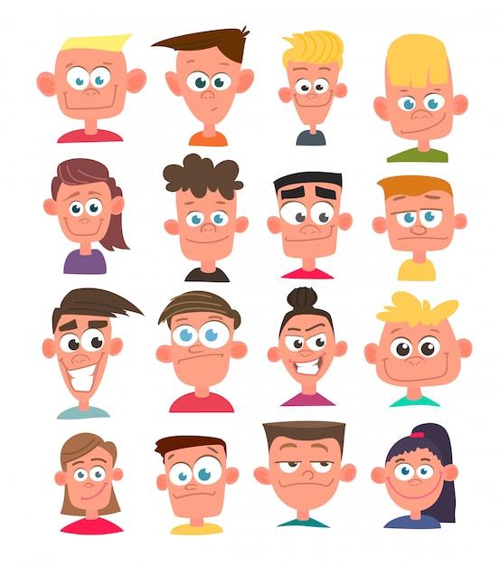 Characters avatars in cartoon  style. Premium Vector