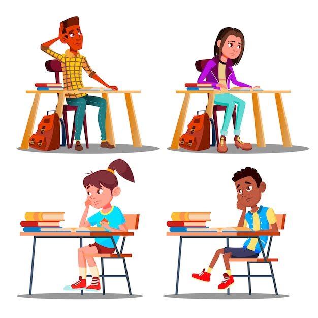 Characters bored pupils during lesson Premium Vector